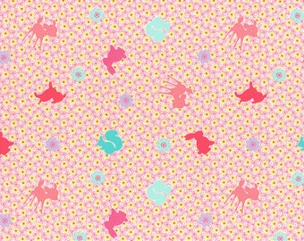 HALF YARD Lecien Happy Rooming - Little Animals and Yellow Mini Cherry Blossoms on PINK 40608-20- Sakura Flowers, Deer Bunny Squirrel