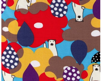 HALF YARD - Rainy Day Polar Bears with Umbrellas - Oxford Cotton - Kokka Japanese Import