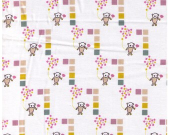 HALF YARD Creative Thursday - The Tinies - JG-50200-200A - Bear with Rose Balloons on White - Block Maze - Cotton Sheeting