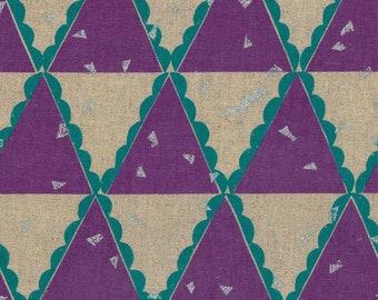 HALF YARD Kokka Echino by Etsuko Furuya - Tent in Purple - Accents in Aqua Teal and Silver Metallic - 97060-62B - 45 Cotton 55 Linen