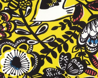 HALF YARD Lecien - Isso Ecco Birds and Flowers on YELLOW - Nylon Oxford - 40749-50 - Japanese Import