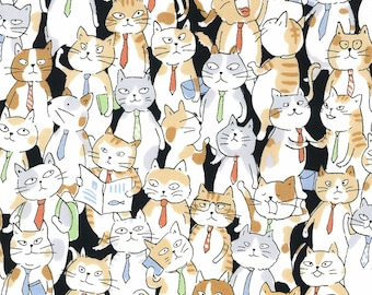 HALF YARD Kokka - Cats with Ties on BLACK - 76070-1D - Jam-Packed Business Suit, Calico, Kitty, Subway Crowd -  Drawing Outline - Japanese