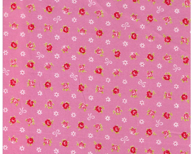HALF YARD - Mini Red and Pink Rose Buds with White Bows on PINK - Flowers, Lolita, Kawaii - Cosmo Textiles, Japanese Import