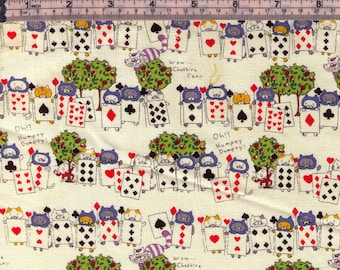 HALF YARD Kobayashi - Alice in Wonderland CREAM - KTS6520  Kitty Playing Cards Guards, Deck of Cards, Cheshire Cat