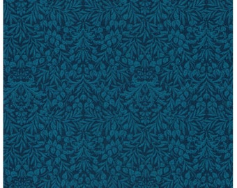 HALF YARD Lecien - Memoire a Paris - Damask Floral in Teal - 820817L-60 - Cotton Broadcloth - Floral, Flower, Botanical - Japanese