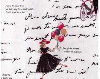 HALF YARD Yuwa - Girl in Black Dress and Text on IVORY - Suzuko Koseki 826468-E  - Bakery, Hepburn, Sewing, Shopping Bicycle, Walking Dog