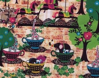 HALF YARD - Kayo Horaguchi - Animal in Teacups on Bricks - Kiyohara Imported Japanese - Giraffe, Lion, Elephant, Pumpkin Heart Carriage,