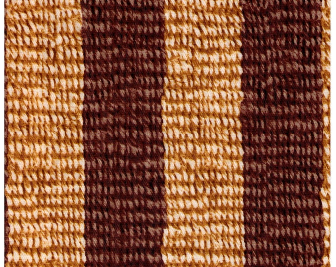 HALF YARD - Photo Realistic Natural and Brown Striped Basket Weave, Oxford Cotton - Cosmo Textiles, Japanese Import