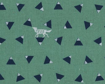 HALF YARD Kokka Echino Spring 2018 - TRIANGLE Jg96900-904C - Silver Fox on Navy Triangles on Mint Green - Cotton Linen