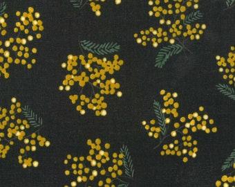 HALF YARD - Kokka -  Mimosa  Spring Flower in Midnight with Golden Yellow Flowers 69050-3D - Cotton Poplin - Japanese Import