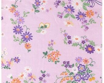 HALF YARD Yuwa - Mini Bows and Petite Flower Bunches on PURPLE 826090-D - Lavender Yellow - Atsuko Matsuyama 30s - Perfect tiny Zakka
