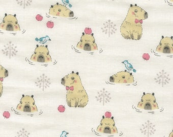 HALF YARD - Kokka - Baby Dreaming - Capybara on Cream - 21040-2A - Double Gauze - Apple, Water, Bird, Playful