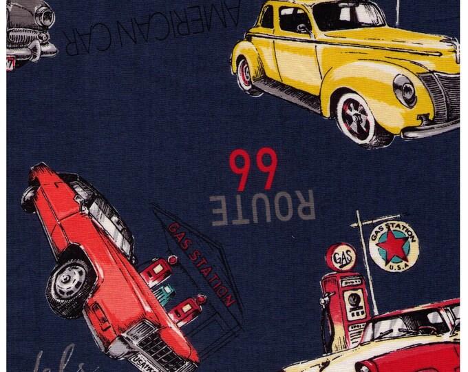 Featured listing image: HALF YARD Yuwa - 50s Classic Cars on Blue - 826578 - Suzuko Koseki - Route 66 - Japanese Fabric
