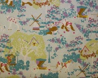 HALF YARD - Kayo Horaguchi - Panda Fairytale Land Blue - Kiyohara Imported Japanese Fabric