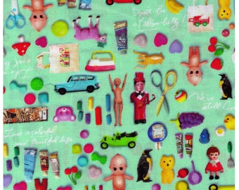 HALF YARD Photo Realistic Toys on Aqua Mint - Digitally Printed -  Kewpie Doll, Alien Dino Robot Rubber Ducky Mushroom - Cosmo Textile Japan