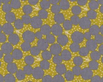 HALF YARD - Echino 2019 - Bubble - Grey/Yellow Colorway 97040 41C - Cotton Linen Sheeting - Bird, Sparrow, Geometric, Dot