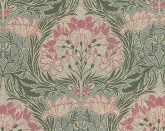 HALF YARD Yuwa -  Green and Pink Large Interlock Floral Medallion - 319680 D LAWN - Art Nouveau Flowers - Live Life Collection Japanese