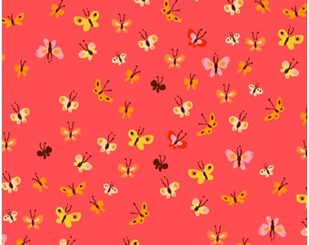 HALF YARD - 20th Anniversary Collection by Heather Ross - Coral Butterflies 40933A-9 Tiger Lily - Windham Fabrics