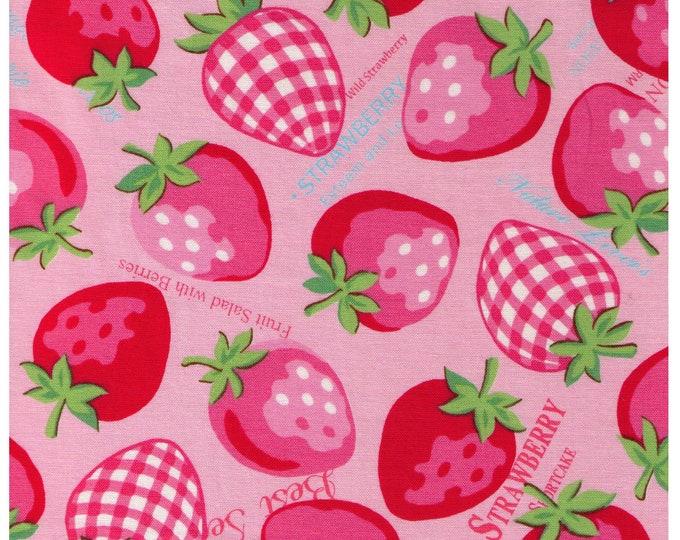 HALF YARD Yuwa - Large Strawberries, Gingham and Text on PINK - 8266557-A Atsuko Matsuyama 30s collection - Japanese Import