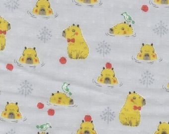 HALF YARD - Kokka - Baby Dreaming - Capybara on Grey - 21040-2D - Double Gauze - Apple, Water, Bird, Playful