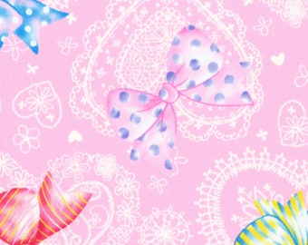 """Last Chance EOB 8"""" Cut - Lecien - Nico Nico Land 2017 - Lace Hearts and Party Bows on Pink - 40896-20 - Cotton Oxford - Japanese Import"""