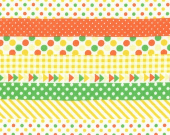 HALF YARD Lecien - Minny Muu Yellow Multi Geo Fun - Yellow Green Orange - Stripes, Triangles, Polka Dots, Washi - 40674-50 - Japanese