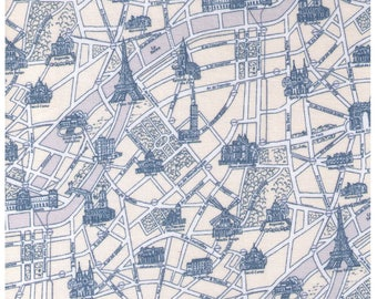 HALF YARD Lecien - Mrs. March's Collection 31528-70 - Map of Paris Landmarks and Streets Blue on Cream - Eiffle Tower, Museum
