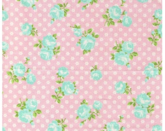 HALF YARD Yuwa - Light Aqua Blue Sweet Rose on Tiny Daisies Dots on Light Pink - Atsuko Matsuyama 116547-F - Japanese Import Fabric