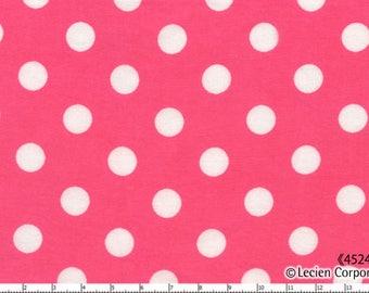 HALF YARD - Lecien - Color Basic - 4524-DP  White Large Polka Dots on Dark Pink - Japanese Import Fabric