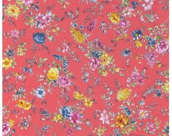 HALF YARD Lecien - Memoire a Paris - Small Bouquet Flowers on Coral - 820815-40 - Cotton Broadcloth - Floral, Flower, Botanical - Japanese