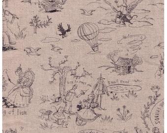 HALF YARD Yuwa - Wizard of Oz on NATURAL - Pencil Ink Sketches - Miyako Kawaguchi - Cotton Linen Canvas