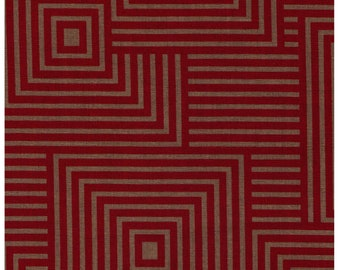 HALF YARD Lecien Geometric Collection - Squares in RED - 41108-80 -Cotton Linen Blend Canvas - Japanese