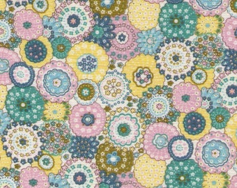 """End of Bolt - 41"""" Cut -  Flower Medallions in Light Pink, Teal Blue, and Yellow - LAWN 9019-2A - Cosmo Textile Japanese Import Fabric"""