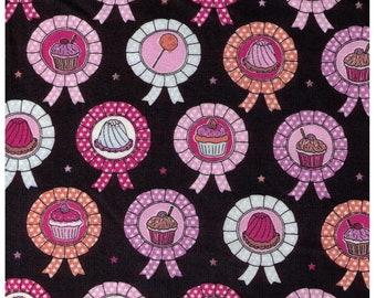 HALF YARD Yuwa - Dessert Rosettes Awards on Black 812919-E - Live Life Collection - Medals, Ribbons, Winner - Japanese Import