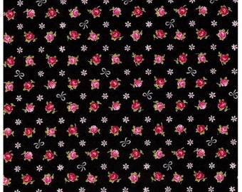 Sale HALF YARD Cosmo Textile - Mini Red and Pink Rose Buds with White Bows on BLACK - Flowers, Lolita, Kawaii -  Japanese Import