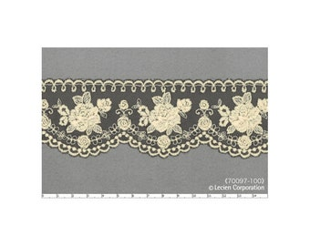 HALF YARD Lecien - Cream Flowers on Black Scallop Lace - 70097-100  Rose Life Garden Lace by Kayo Enza - Floral, Flower, Bouquet -Japanese