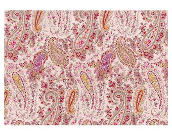 HALF YARD Lecien - Memoire a Paris 2018 - Paisley Pink 40962-40 - Cotton Lawn - Flowers - Japanese Import