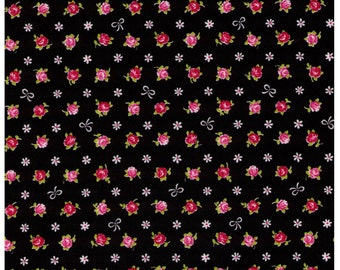HALF YARD Cosmo Textile - Mini Red and Pink Rose Buds with White Bows on BLACK - Flowers, Lolita, Kawaii -  Japanese Import