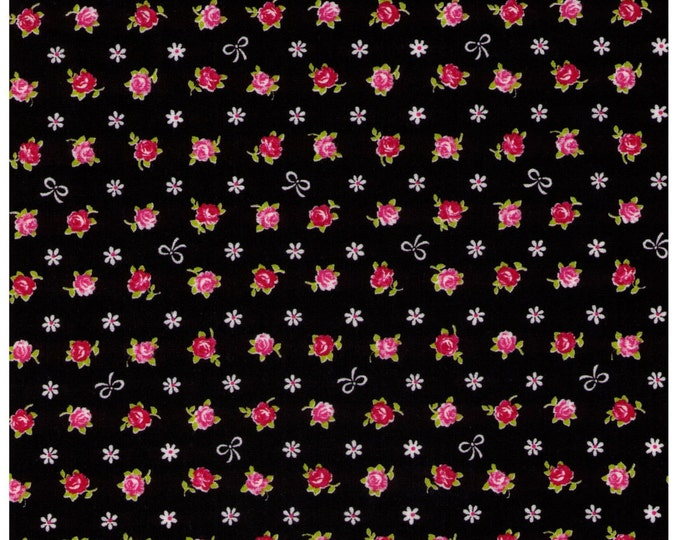 Sale (20) HALF YARD Cosmo Textile - Mini Red and Pink Rose Buds with White Bows on BLACK - Flowers, Lolita, Kawaii -  Japanese Import