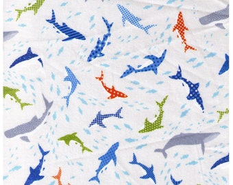 HALF YARD Cosmo Textile - Swimming with Sharks and Whales on WHITE Sp1800 8A - Fish, Ocean, Aquatic, Whale, Humpback - Japanese Import