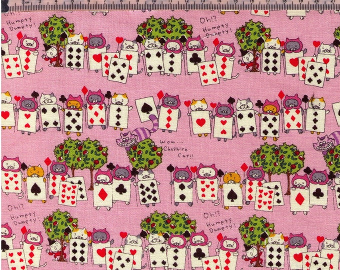 Featured listing image: HALF YARD Kobayashi - Alice in Wonderland PINK - KTS6520  Kitty Playing Cards Guards, Deck of Cards, Cheshire Cat