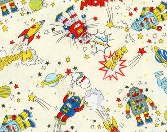 HALF YARD - Kokka - Cartoon Robots on White - 19030-1C Cotton Oxford - Kawaii, Space, Rockets, Planets, Stars