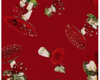 HALF YARD - Squirrel, Picnic Basket and Red Mushrooms on RED - Chipmunk - Japanese Import Fabric - Cosmo Textile