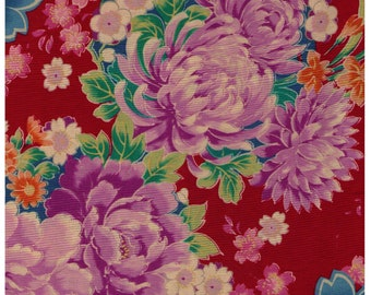 HALF YARD Yuwa - Sakura  Chrysanthemum Flowers on Red 829315-A - Cherry Blossom, Traditional Japanese Flowers Asanoha, Geometric - Yukata