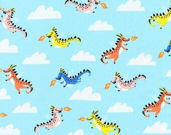 HALF YARD Hello Lucky - Dragons on Blue - By Hello!Lucky for Robert Kaufman - Eunice Moyle and Sabrina Moyle