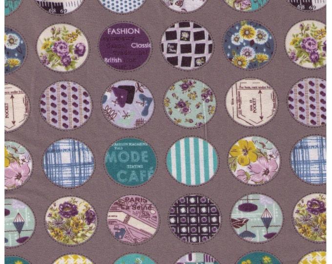 HALF YARD Yuwa - Mini Stitched Cheater Circle on Grey -  Suzuko Koseki- Japanese Import Fabric - Reduced Print Size