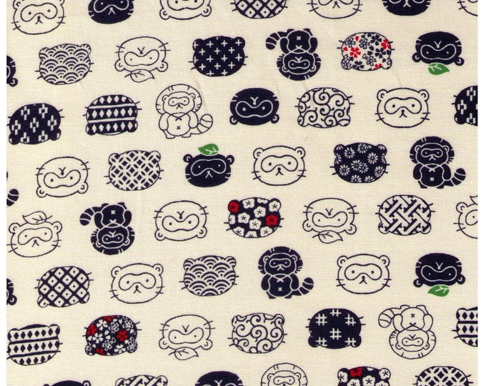 HALF YARD Tanuki and Tanuki Faces on BEIGE 56-1A- Japanese Raccoon dog, Trickster Red Highlights - Japanese Import Fabric  Traditional Print