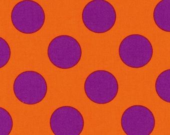 HALF YARD Kokka - Candy Party Extra Large Dots 1C - Purple Extra Large Dots on Orange - Japanese Import Fabric
