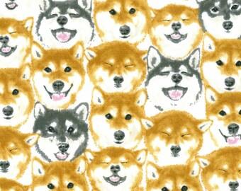 HALF YARD Kokka - Jam-Packed Dog Faces on CREAM - 76070-2A - Shiba Inu, Subway Crowd -  Drawing Outline - Japanese