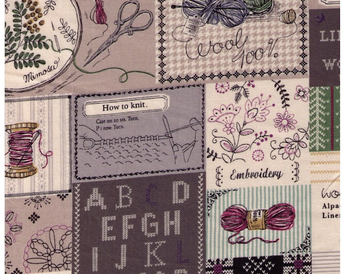 "Last Chance EOB 7"" Cut - Yuwa Live Life Collection - Cross Stitch and Knitting TAN Beige Grey Colorway D - Needle Thread Spool Scissors Yarn"